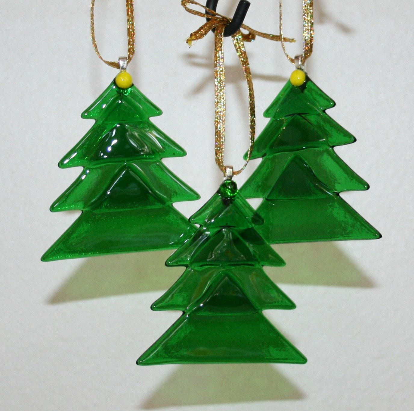 Christmas tree fused glass ornaments translucent