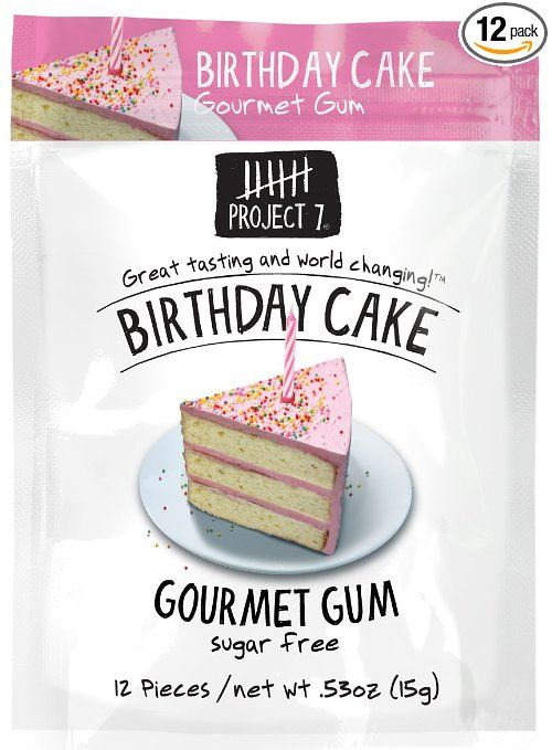 Project 7 Sugar Free Gum Birthday Cake 12 Count Pack of 12