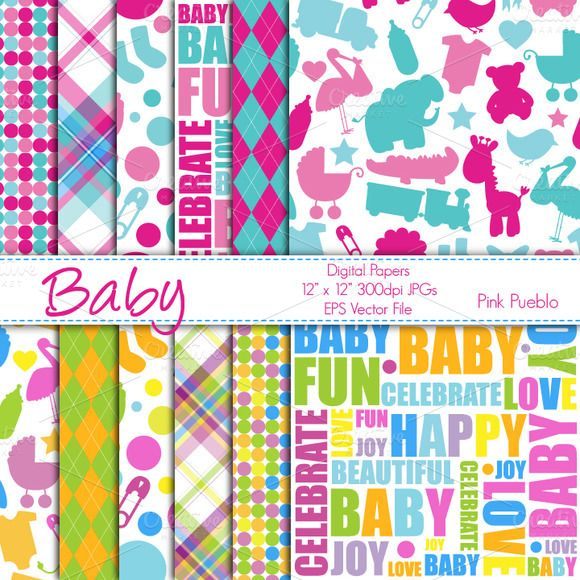 Baby Themed Digital Paper/Background   Baby scrapbook ...