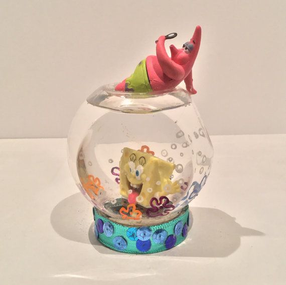 Personalized Snow Globe  Spongebob by GingerspiceStudio on Etsy