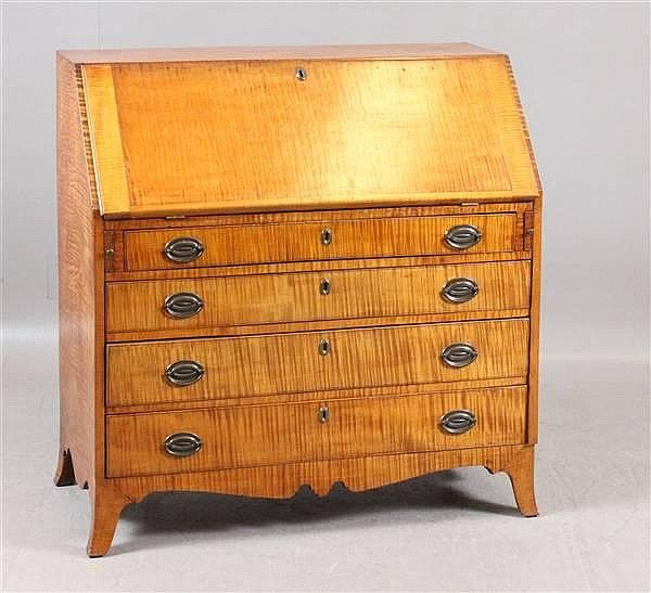 Tiger Maple Hepplewhite Slant Top Desk With French Foot And Full Compartment Interior 40