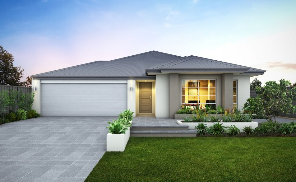 Modern elevation with striking rendered facade feature for Colorbond home designs