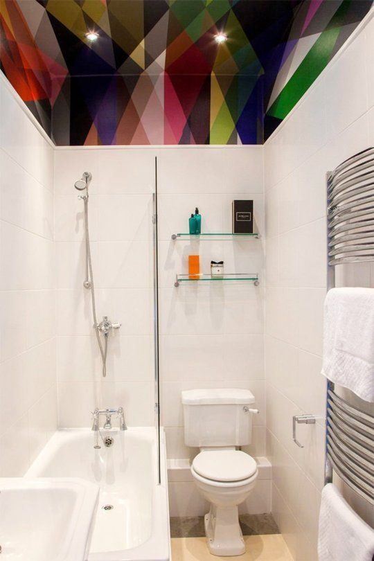 dip a toe into bold color painted ceilings in the bathroom - Small Bathroom Ideas Apartment Therapy