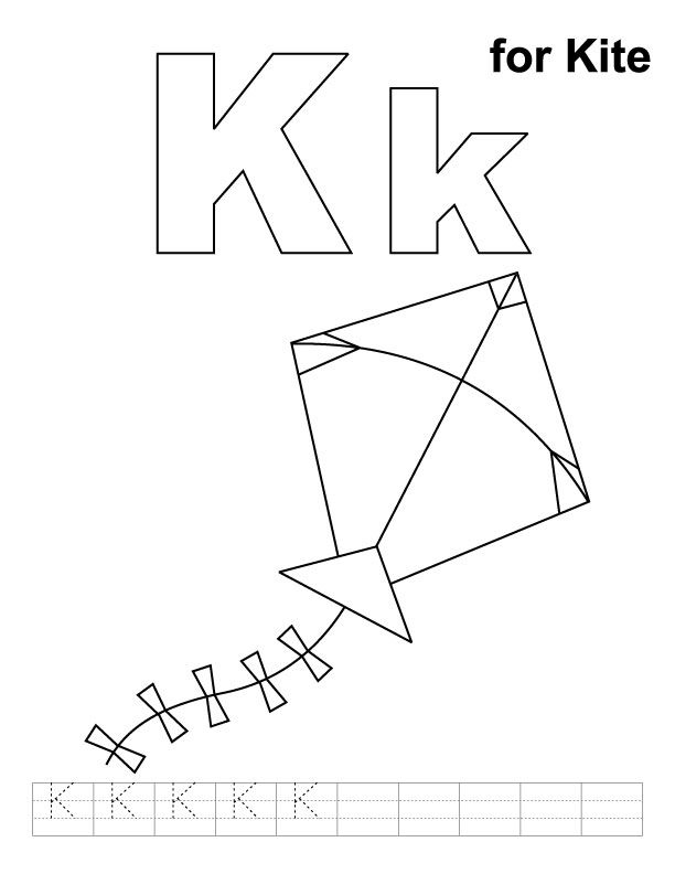 K For Kite Coloring Page With Handwriting Practice Improve Your