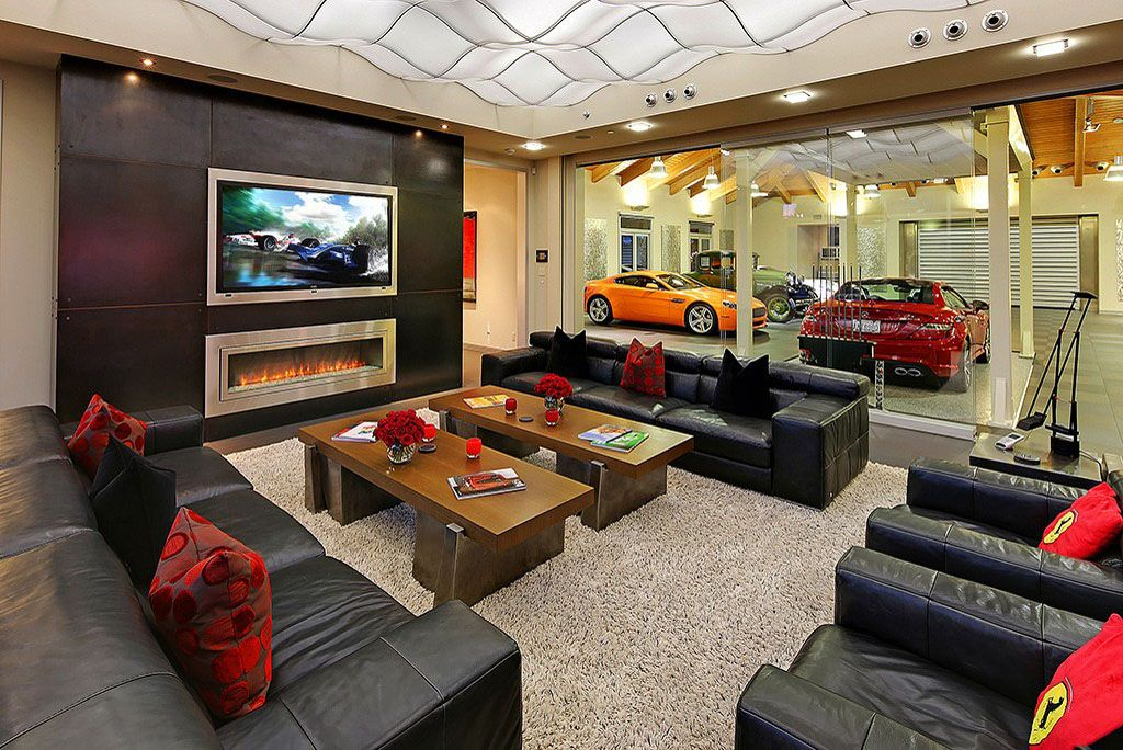 20 cool living spaces inside of garages car garage for Living room garage
