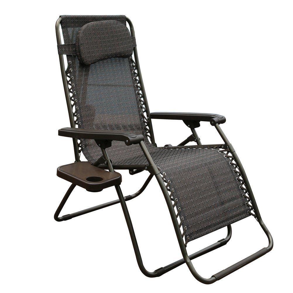 Abba Patio Oversized Zero Gravity Recliner Patio Lounge Chair Dark Brown P