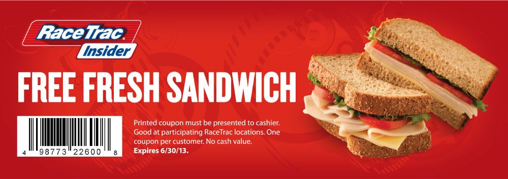 Pinned June 11th Free sandwich all month at RaceTrac gas