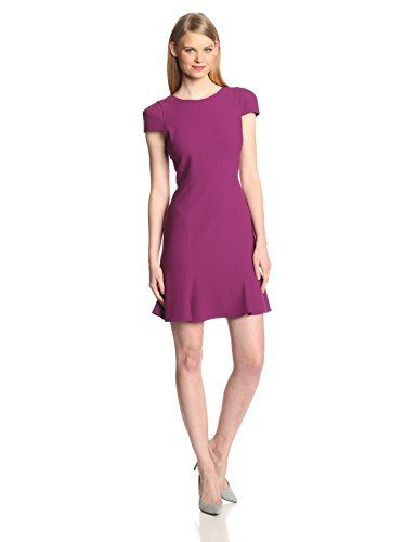 Radiant in Orchard. 4.collective  Crepe Cap Sleeve Flounce Dress. 4.collective Women's Crepe Cap-Sleeve Flounce Dress. Fully-lined dress with cap sleeves, flounce skirt, and V-back. Concealed zipper on back.
