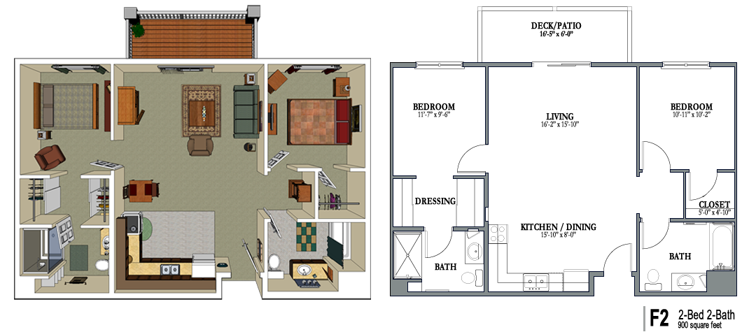 900 sq ft apartment floor plan