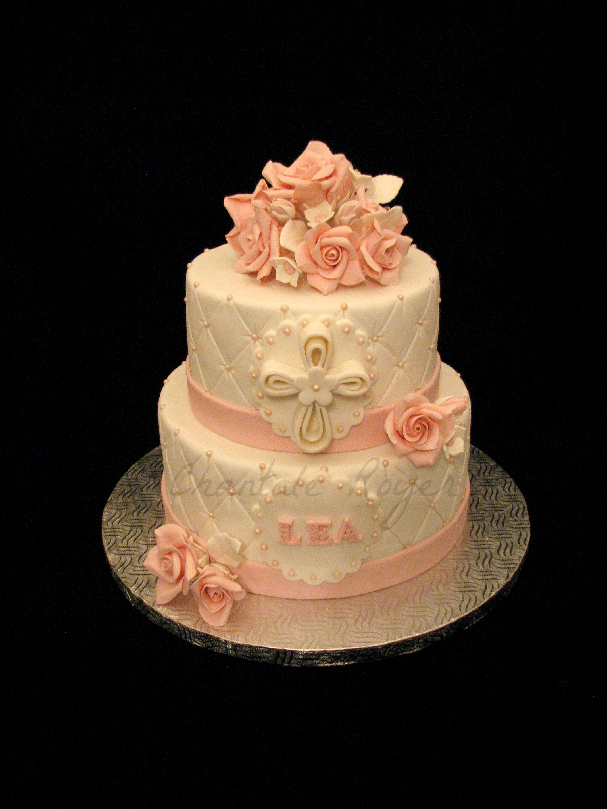 Cake g teau bapt me baptism christening fille girl roses rose cake g teau chantaloo - Decoration gateau bapteme fille ...
