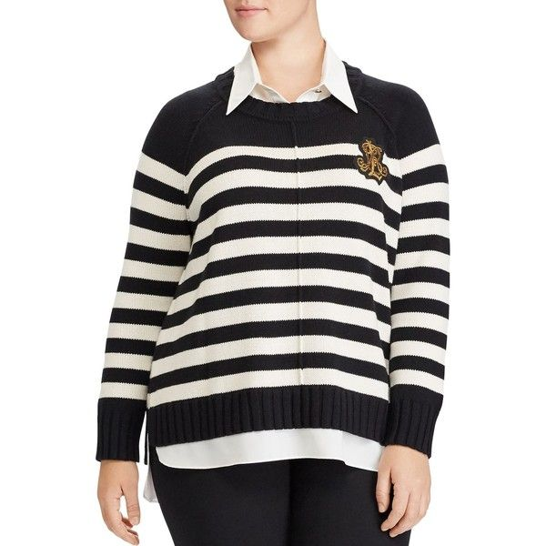 ee4fd90fbe7 Lauren Ralph Lauren Plus Layered Look Stripe Sweater ( 55) ❤ liked on  Polyvore featuring plus size women s fashion