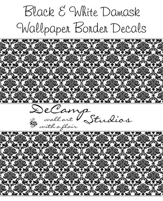 black damask border decal wall art room pattern stickers decor