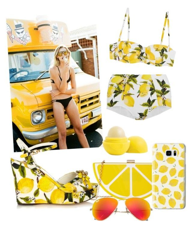 """""""Lemon !"""" by feerrubal ❤ liked on Polyvore featuring Dolce&Gabbana, Jessica McClintock, Casetify, Eos and Ray-Ban"""