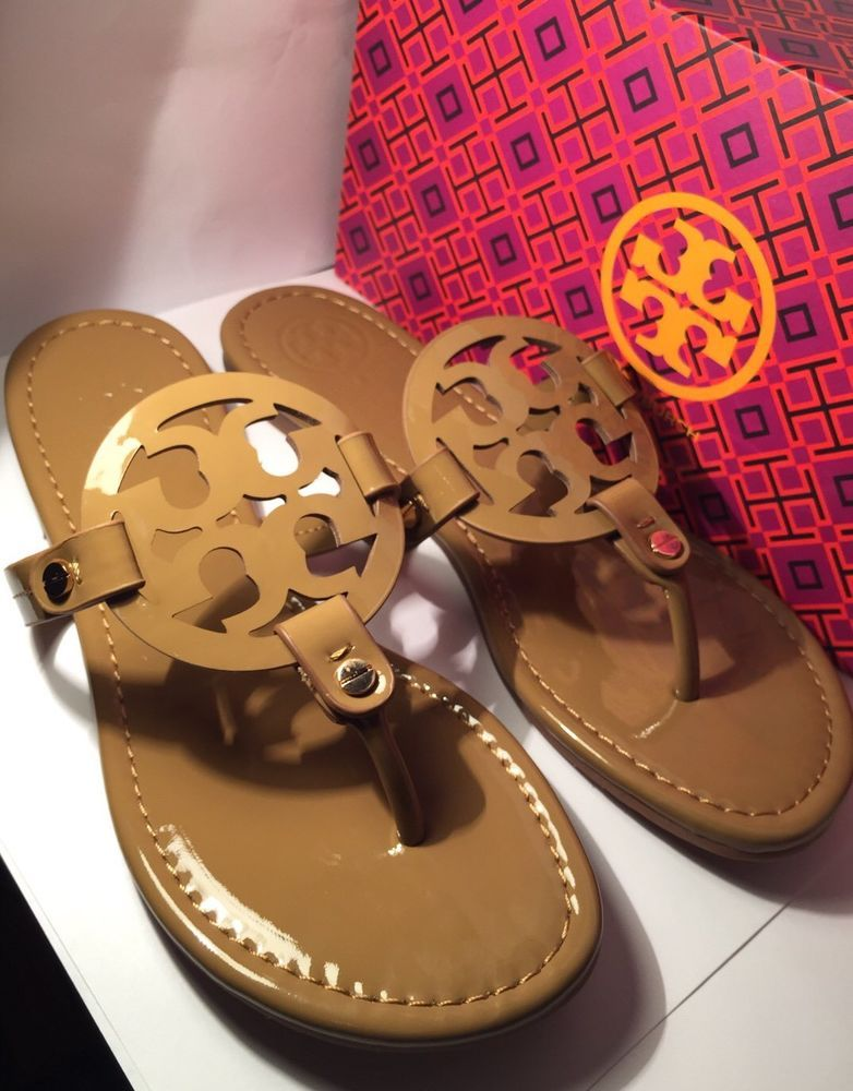 a8dd7ab40 NEw Tory Burch Nude Patent Leather Miller Logo Sandals Size 8M ...