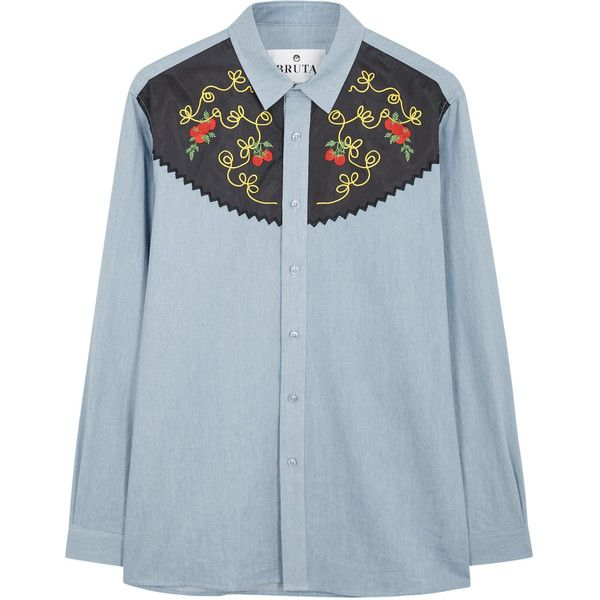 BRUTA Spaghetti Western embroidered shirt ($195) ❤ liked on Polyvore  featuring men's fashion,