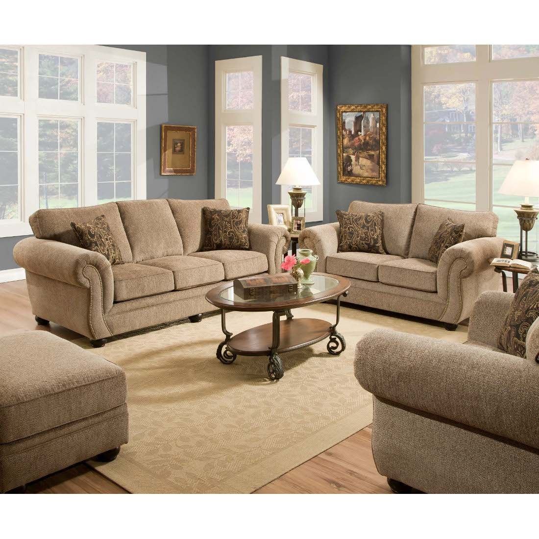 Made To Order Simmons Upholstery Melody Bronze Sofa   Overstock™ Shopping    Great Deals On Simmons Sofas U0026 Loveseats