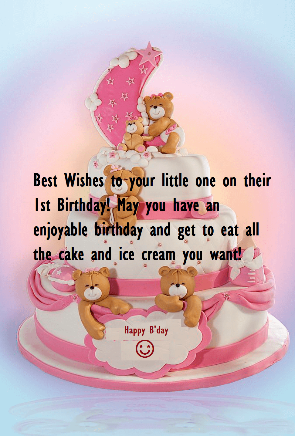 Birthday Cute Cake Wishes For Baby One Year Birthday Wishes