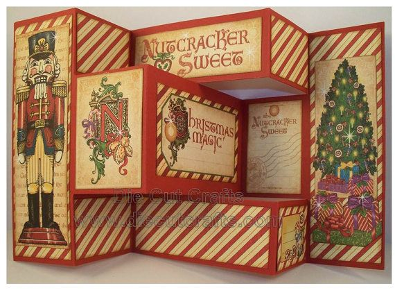 Graphic 45 Nutcracker Sweet Tri Shutter Card Christmas Cards Fancy Fold Cards Folded Cards