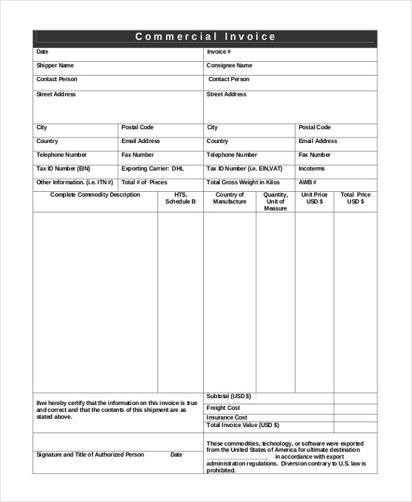 Shipping Invoice Template , Invoice Template NZ for Tax Invoicing ...