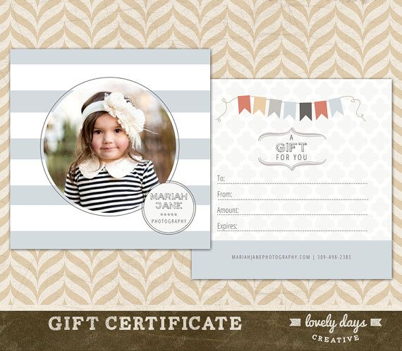 Photography Gift Certificate Template For Photographers Instant