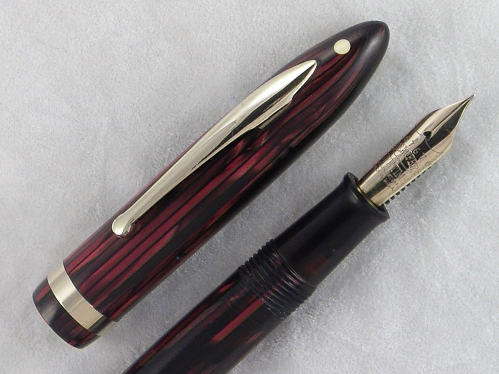 Vintage 1930s #Sheaffer Red Striped Lifetime Balance Fountain Pen Restored  | eBay