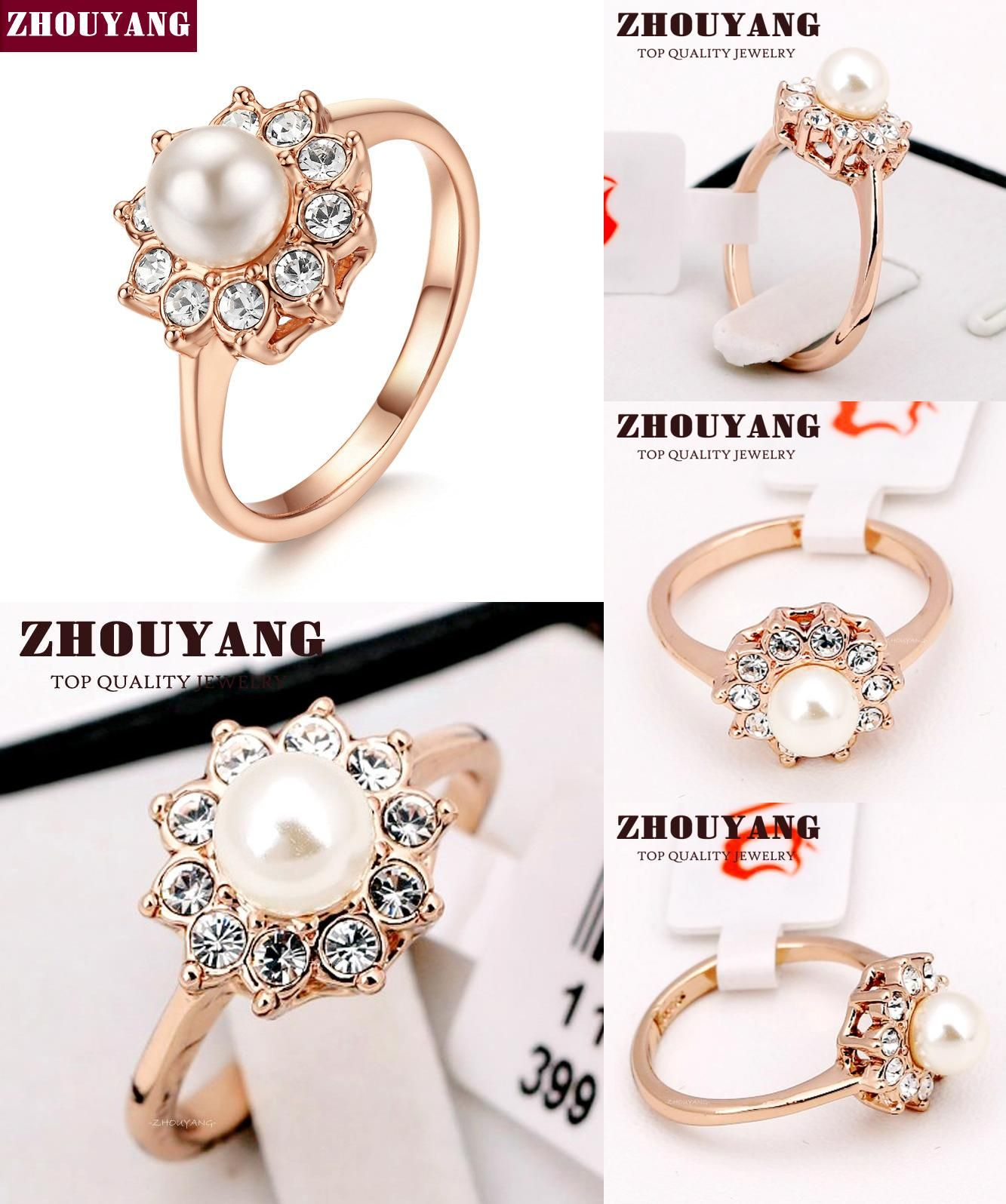 Visit to buy simple imitation pearl rose gold color ring for girl
