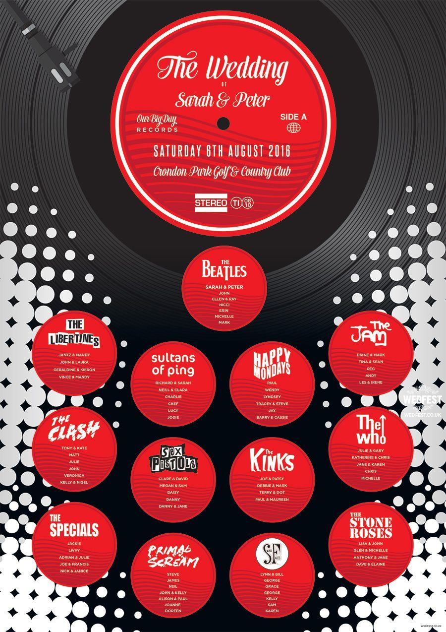 music vinyl record themed wedding seating plan | wedding seating ...