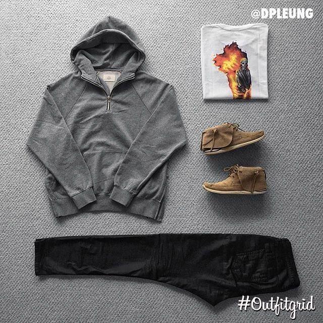 Today's top #outfitgrid is by @dpleung. ▫️#FOG #Hoodie ▫️#RickOwens #Denim ▫️#OffWhite x #Babylon #Tee ▫️#Visvim #FBT