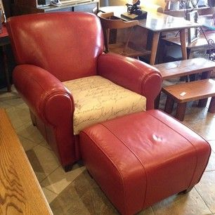 Phenomenal Pottery Barn Mitchell Gold Red Leather Chair With Ottoman Caraccident5 Cool Chair Designs And Ideas Caraccident5Info