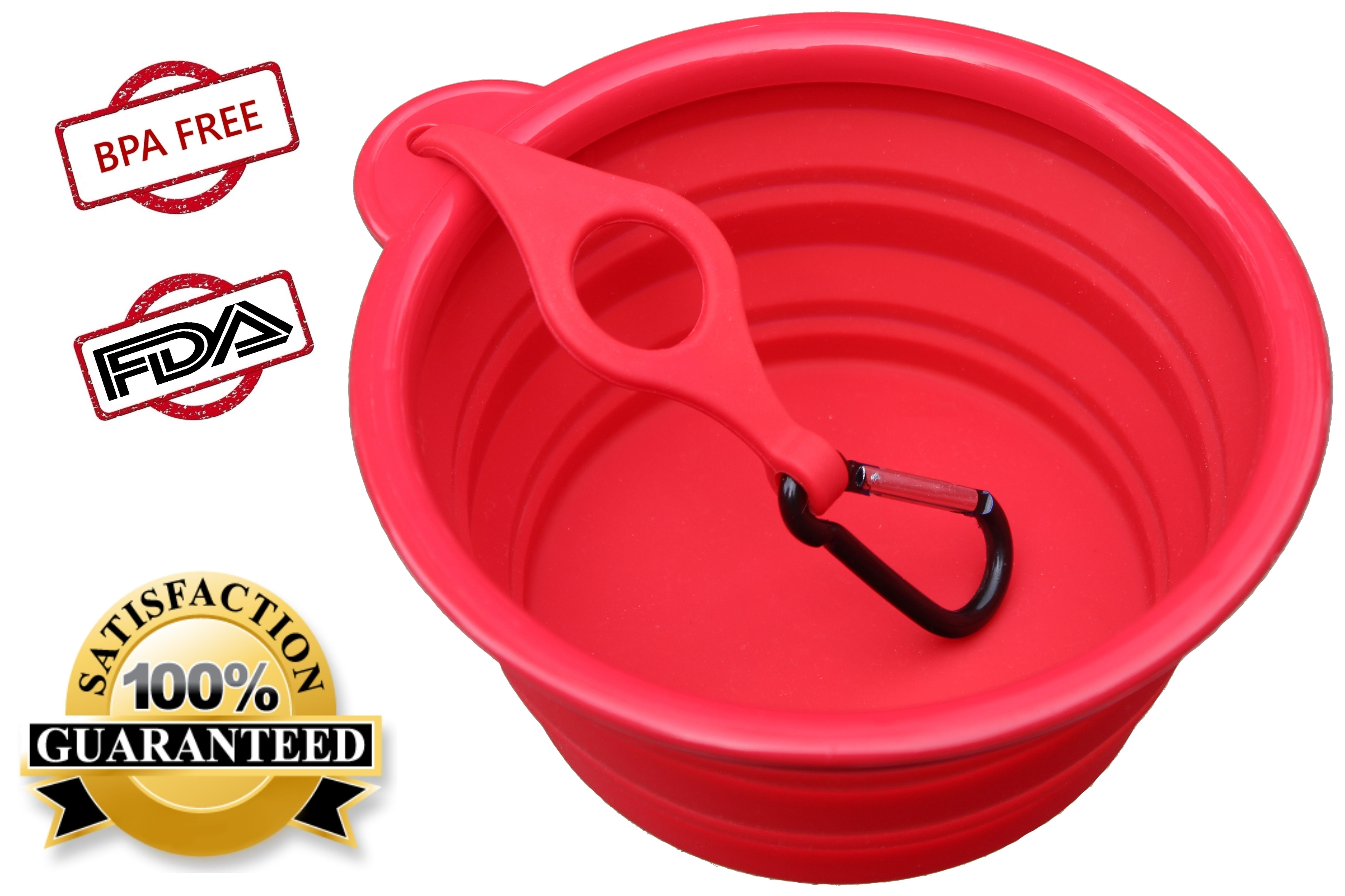 Dog Water Bowl with Bottle Harness and Carabiner Clip