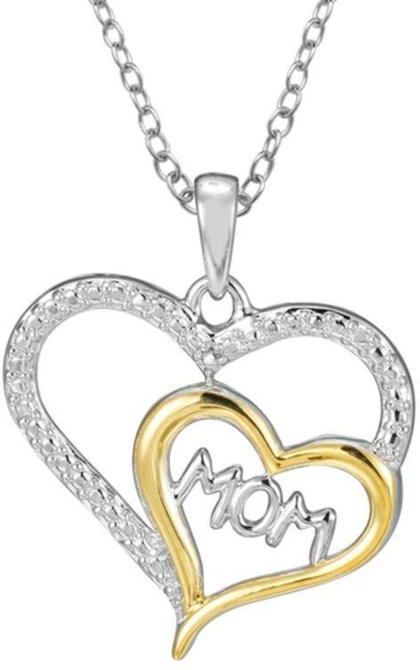 Diamond AccentMOM Double Heart Pendant in Sterling Silver