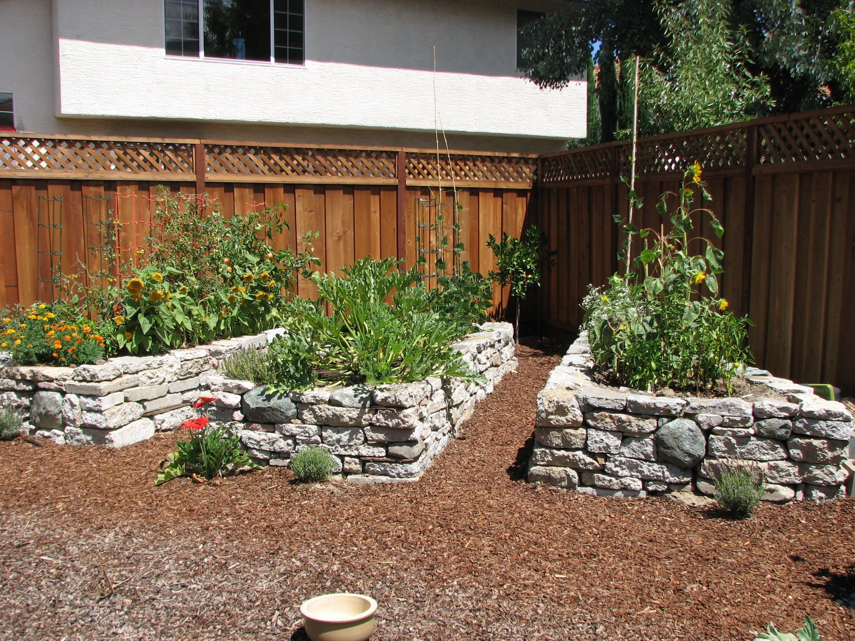 Raised Bed Made From Recycled Broken Concrete Slabs Vegetable