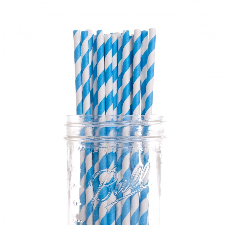 Vintage Paper Drinking Straws - Royal Blue Striped Paper Straws (25 ...