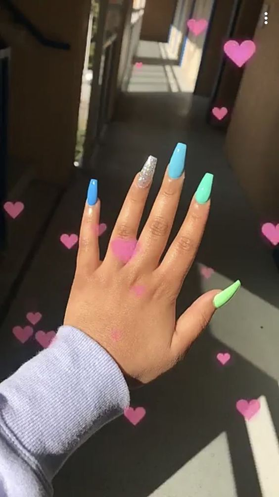 40 Colorful Coffin Acrylic Nails To Choose From Cute Acrylic Nails Acrylic Nails Coffin Nails Designs