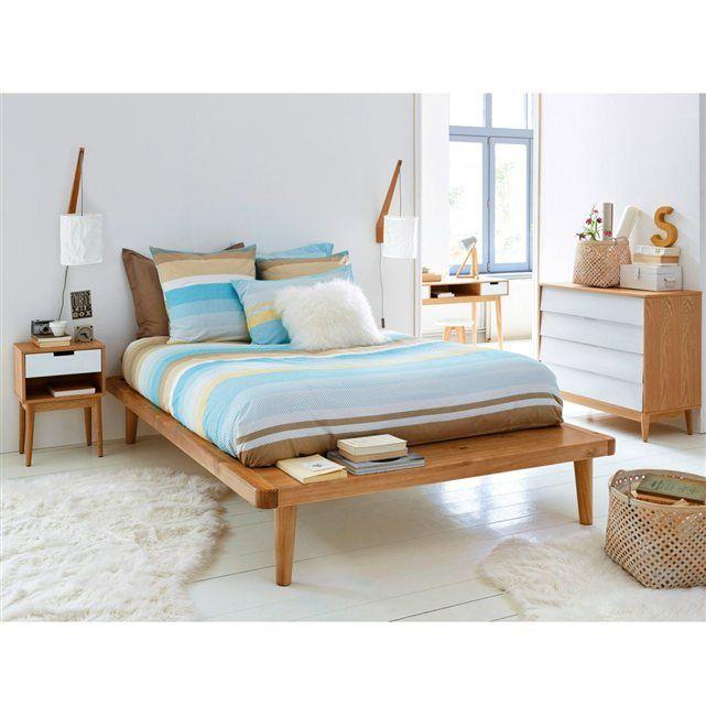 Le lit plateforme pin massif sommier jimi esprit vintage et scandinave avec son