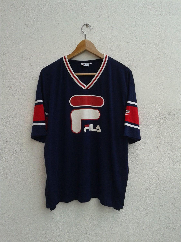 fb844288d404 15% SPRING SALE Vintage 90s FILA Giant Logo Ring Color Block Hip-Hop  Embroidered Monogram Bjork T-Shirt Size L -  29.67 USD