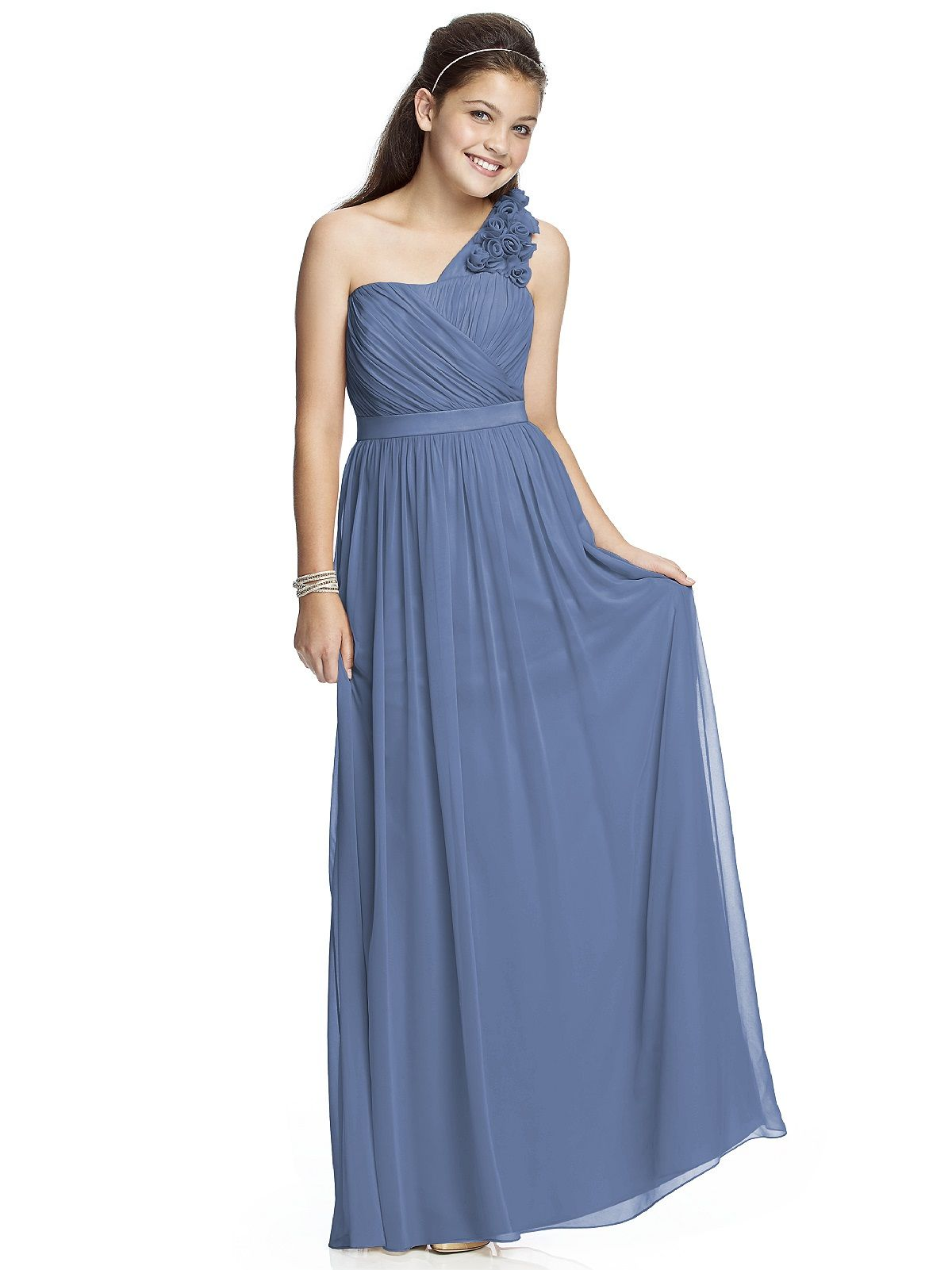 Junior bridesmaid dress jr526 httpdessydressesjunior junior version of style full length one shoulder lux chiffon dress with handworked flower detail at shoulder ombrellifo Choice Image