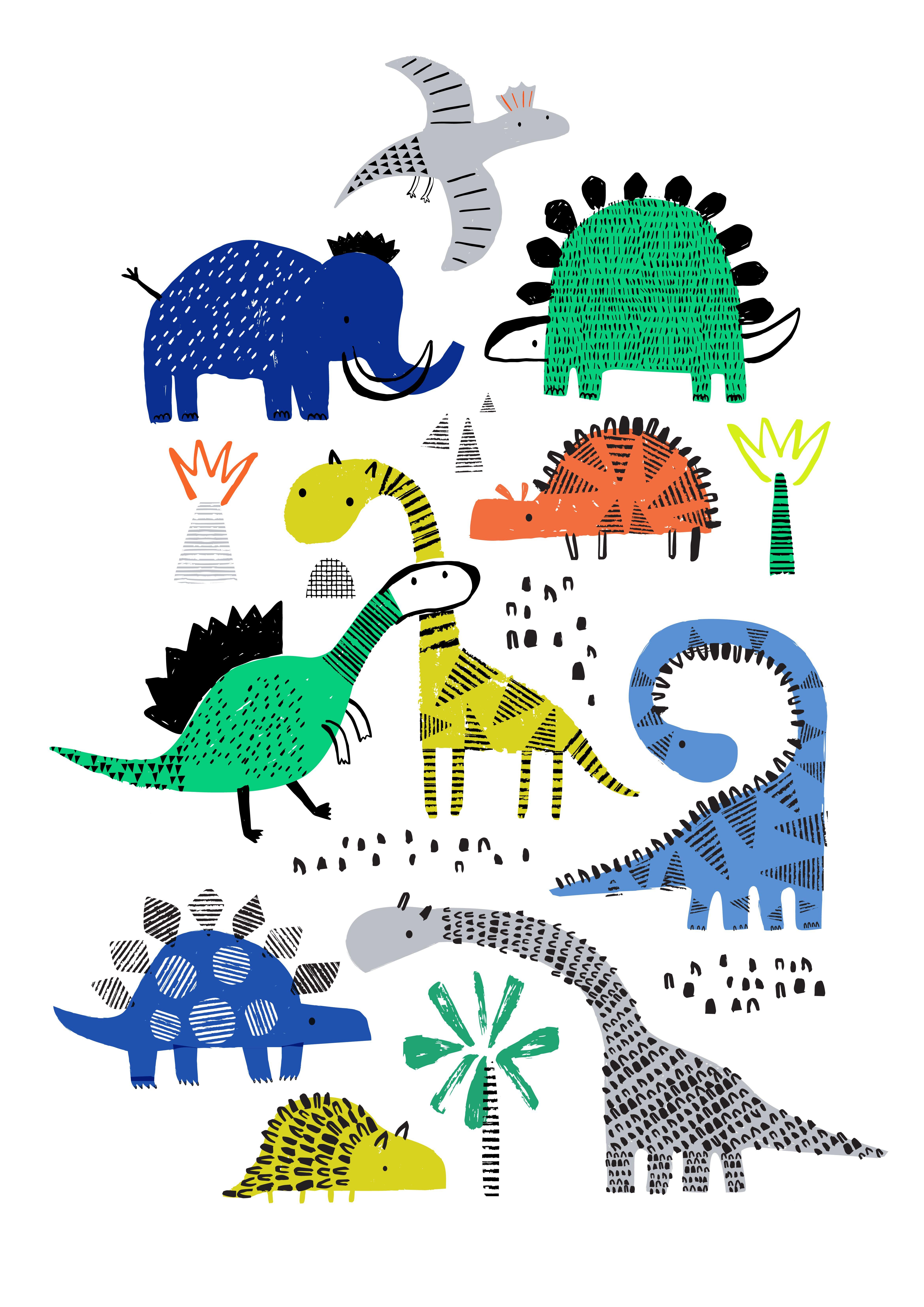 Arty Dinosaurs Animal Illustration Kids Dinosaur Illustration