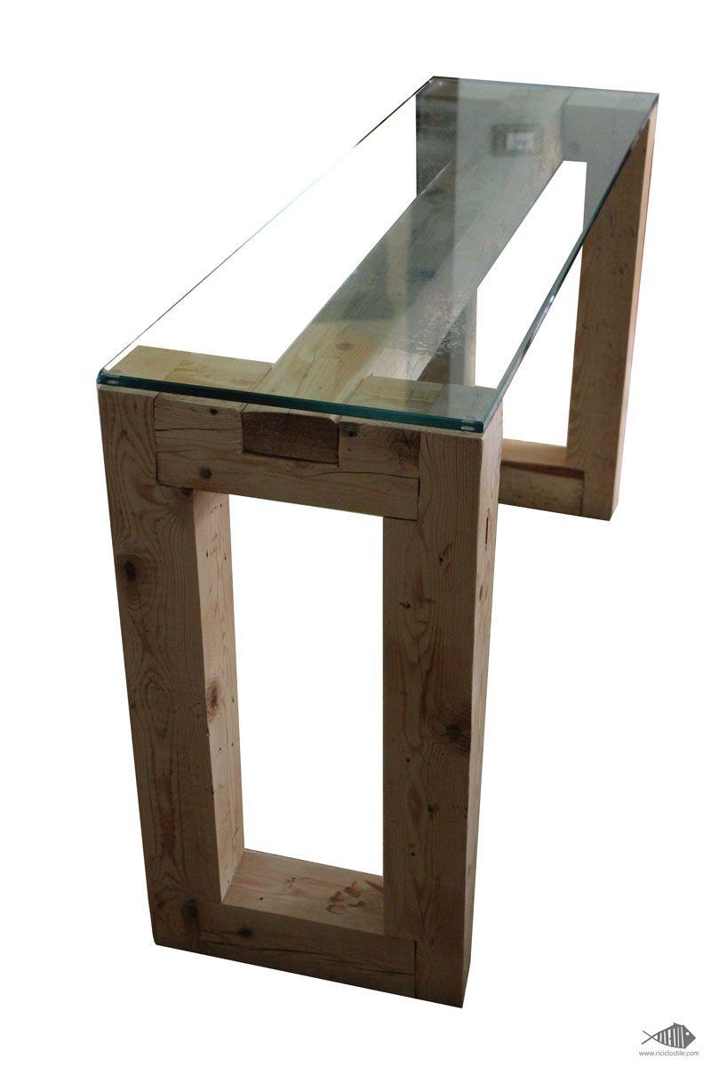 Consolle in legno di pallet industriale e vetro riciclato ...