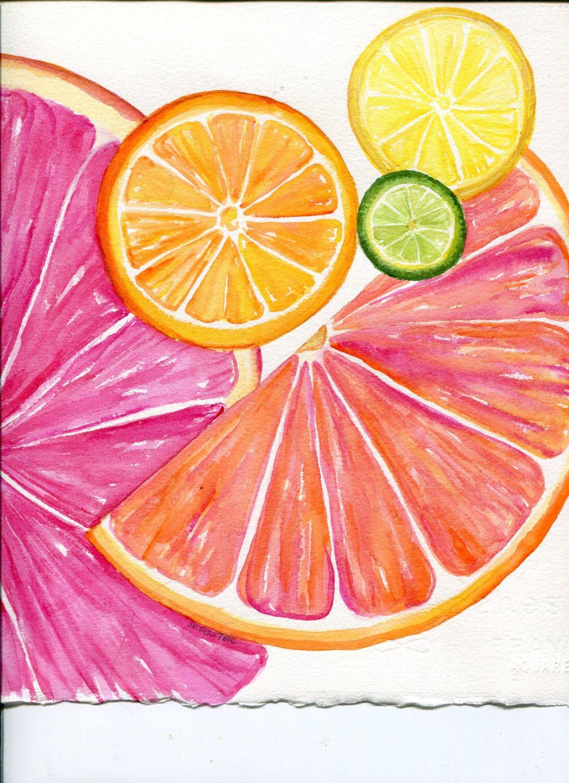 Citrus Watercolors Paintings Original, Ruby Red Grapefruit, Lemon, Orange  Lime,Original Watercolor