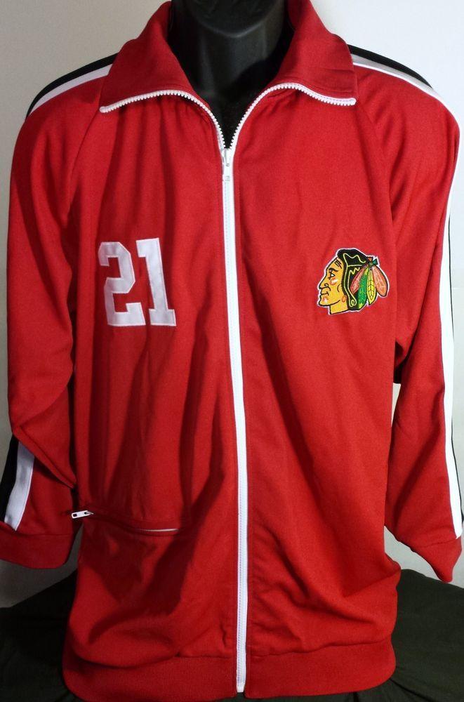 Mitchell   Ness Chicago Blackhawks Mens Size XL Red Track Jacket ... b4560da9e