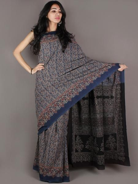 Indigo Grey Maroon Black Mughal Nakashi Ajrakh Hand Block Printed in Natural Vegetable Colors Cotton Mul Saree - S03170906