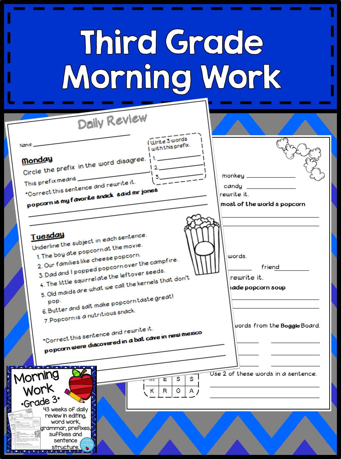 Morning Work - Third Grade   Terrific Third Grade   Third
