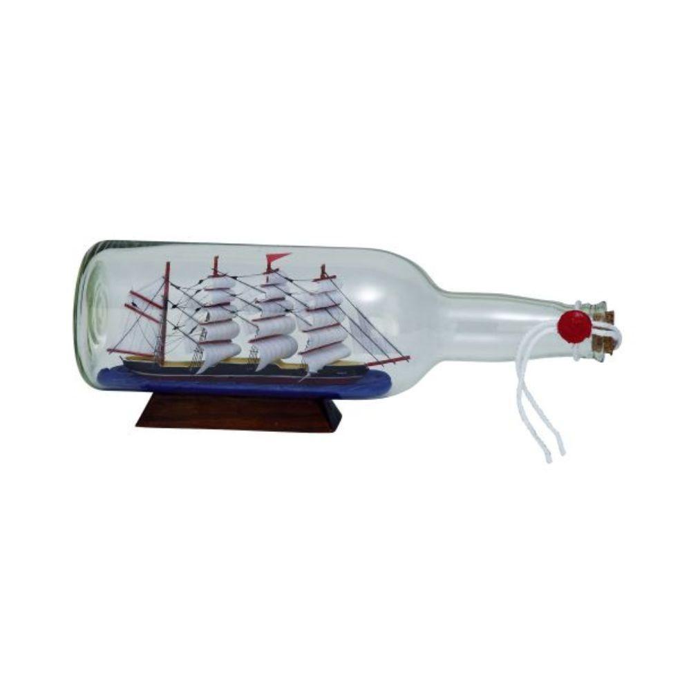 """Glass Ship In A Bottle 11""""W, 4""""H"""
