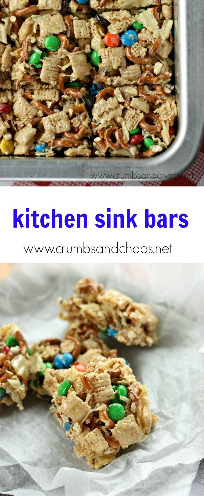 Sink Bars Sweet and salty, Kitchen Sink Bars are an easy no bake treat that is irresistible and sure to be a crowd favorite! via @crumbsandchaosSweet and salty, Kitchen Sink Bars are an easy no bake treat that is irresistible and sure to be a crowd favorite! via @crumbsandchaos
