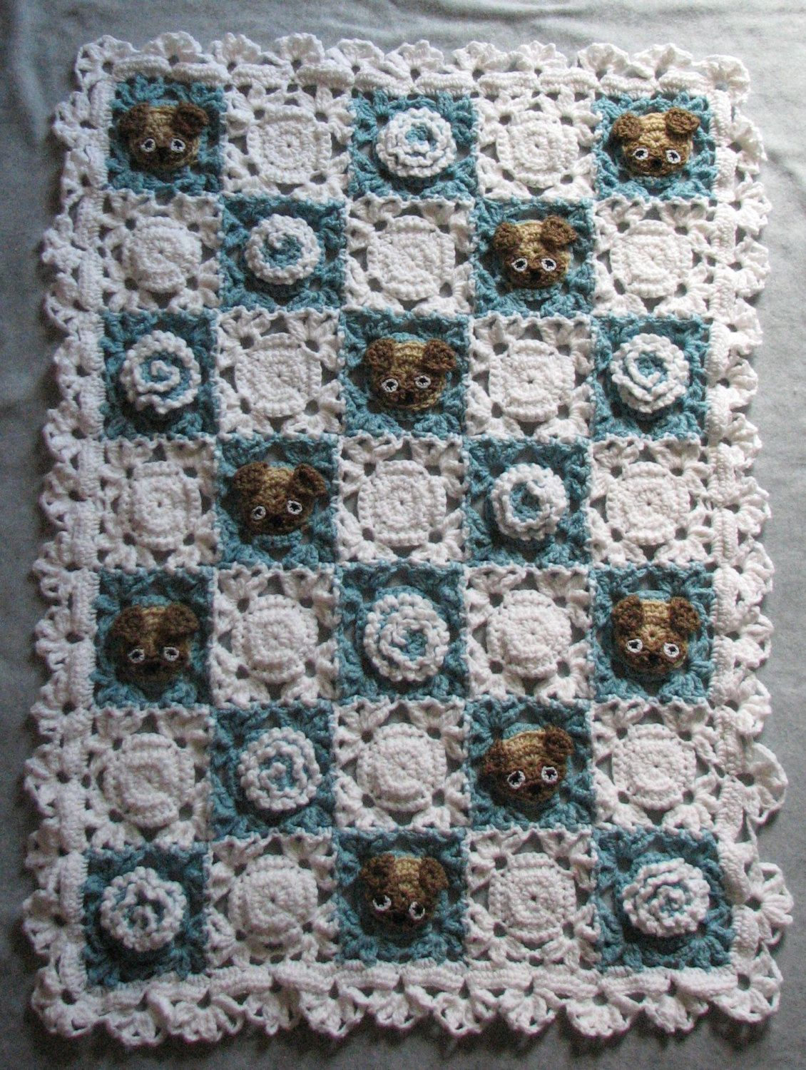 Pug Lace and Flowers Baby Afghan Crochet Pattern to Download by ...