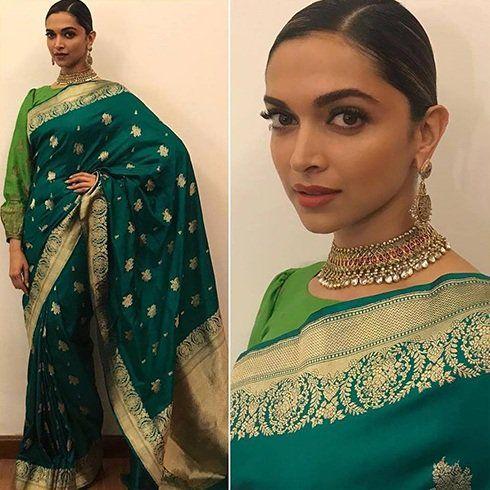 Deepikapadukone In Sailesh Singhania Indian Saree Blouses Designs Indian Sari Dress Saree Look
