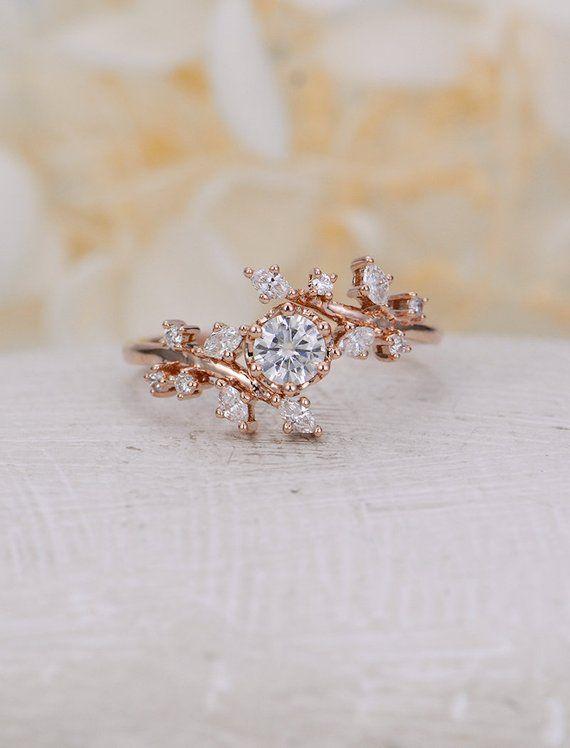 Rose gold Verlobungsring Diamant-Cluster Ring einzigartige Moissanite zarten Blatt Hochzeit Frauen, die Braut Versprechen Jahrestagsgeschenk für sie gesetzt  Alle unsere Diamanten sind 100 % natürlich und nicht Klarheit verbessert oder sowieso in behandelt. Wir verwenden nur