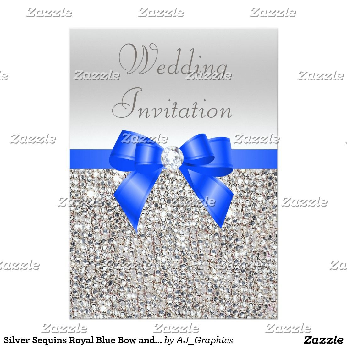 Silver Sequins Royal Blue Bow And Diamond Wedding Invitation