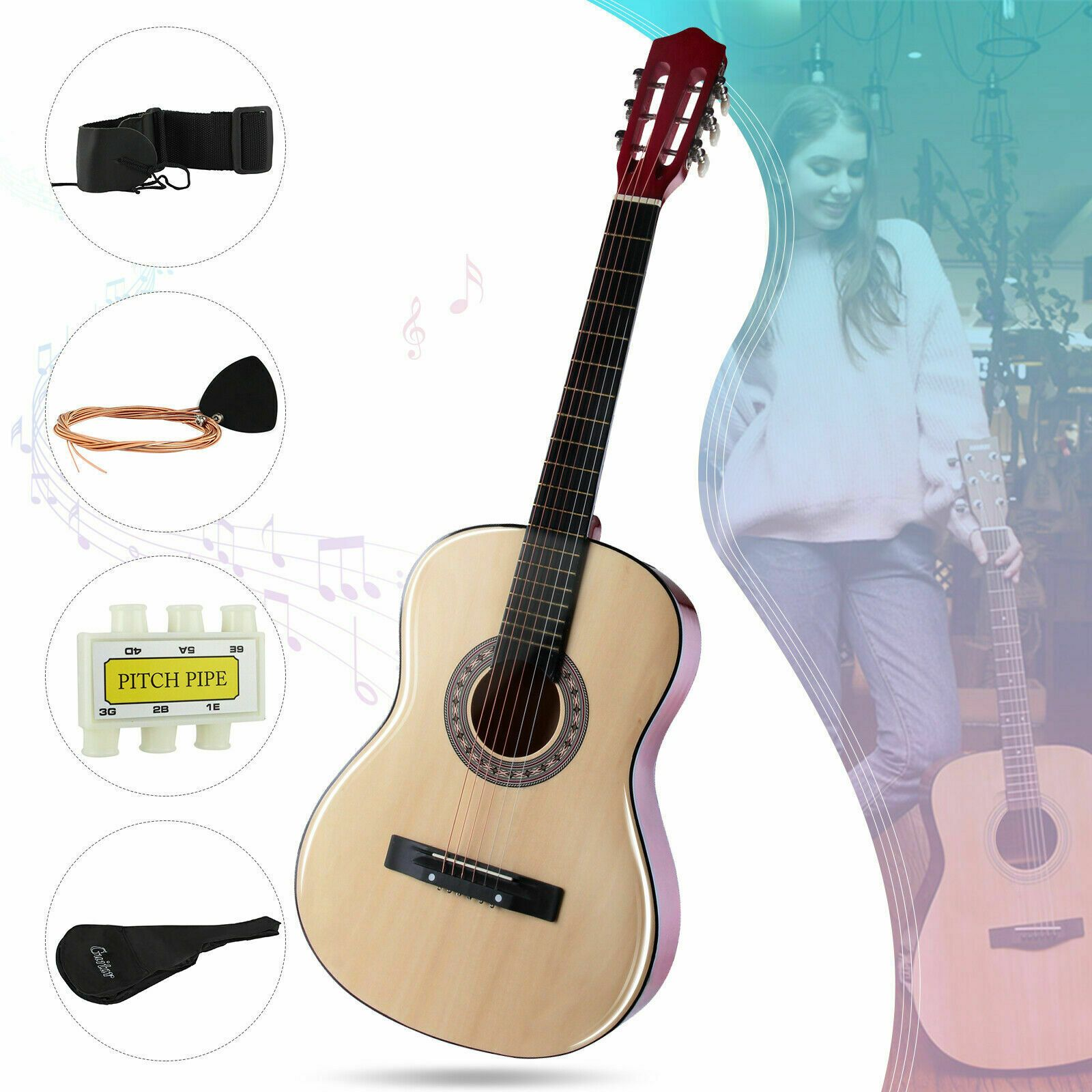 38 Beginners Acoustic Guitar With Case Straptuner Pick Steel Strings Brown Guitar Ideas Of Guitar Guitar Acoustic Guitar Tuners Guitar Acoustic Guitar